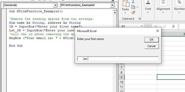 VBA RTrim Function