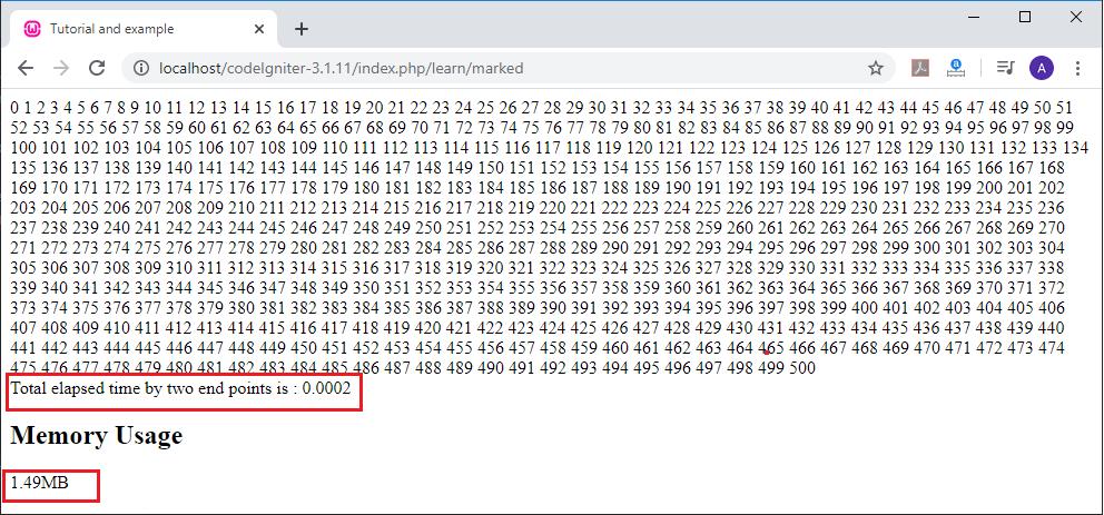 CodeIgniter Benchmarking Class