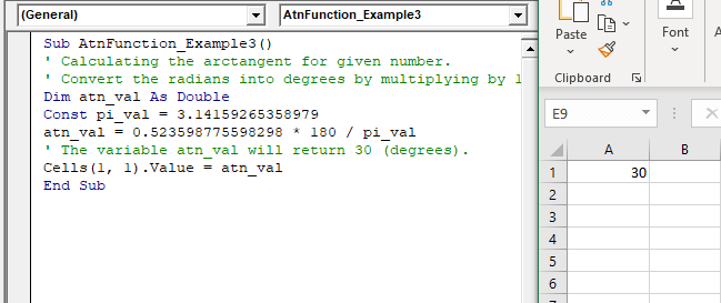Excel VBA Atn Function