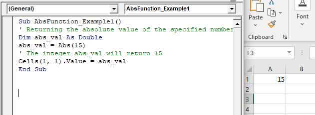 VBA ABS Function