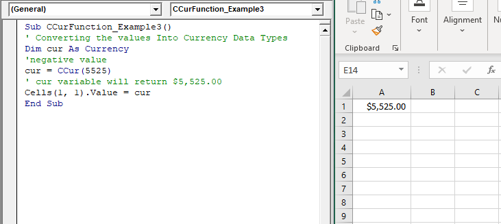VBA CCur Function