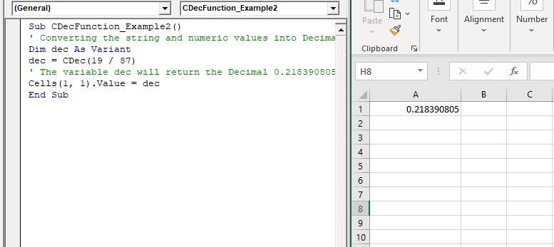 Excel VBA CDec Function