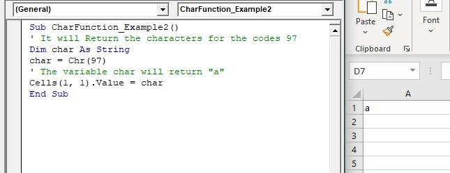 VBA Chr Function