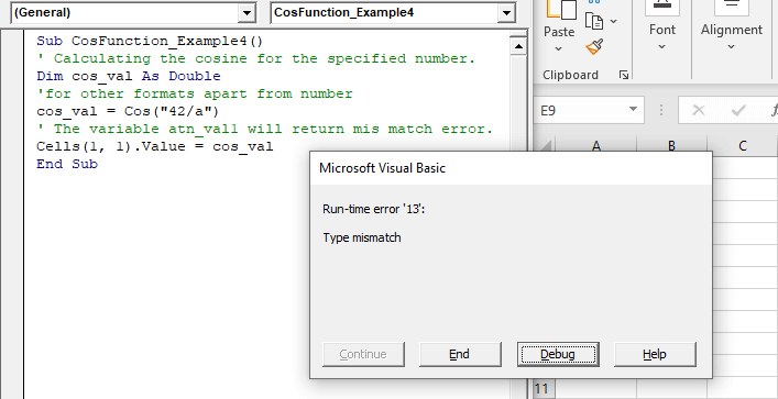 VBA Cos Function