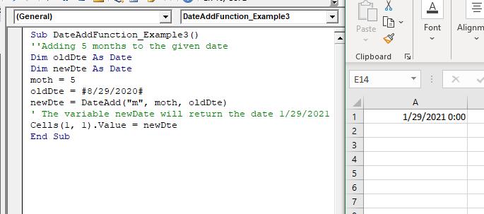 VBA DateAdd Function