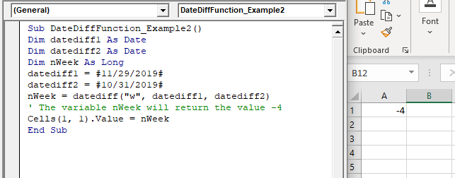 VBA DateDiff Function