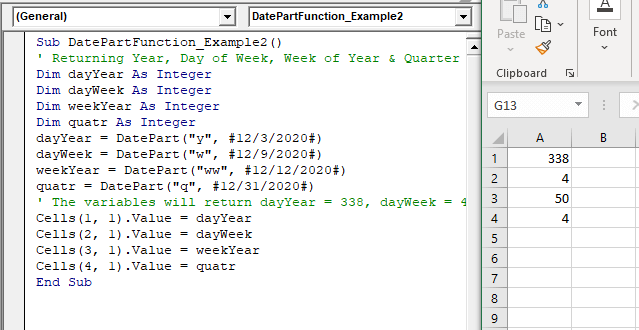 VBA DatePart Function