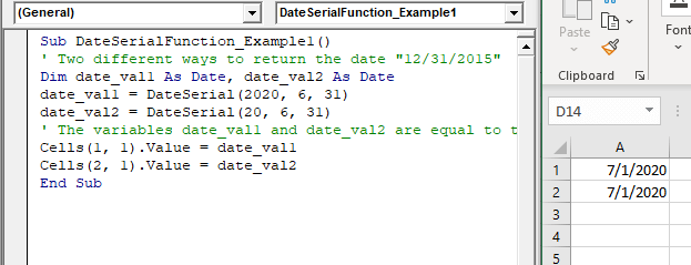 VBA DateSerial Function