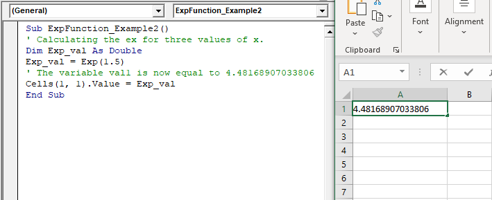 VBA Exp Function