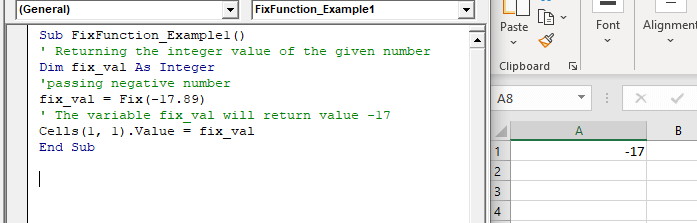 Excel VBA Fix Function
