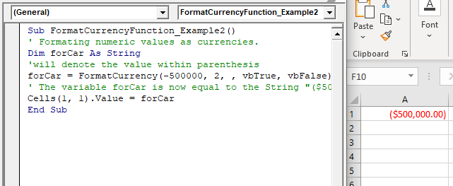 VBA FormatCurrency Function
