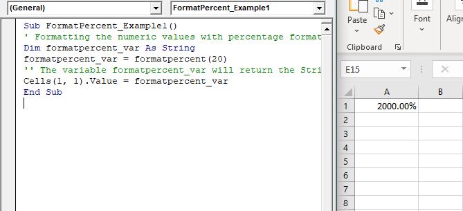VBA FormatPercent Function