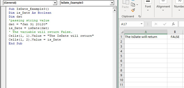 Excel VBA IsDate Function