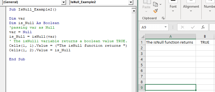 Excel VBA IsNull Function