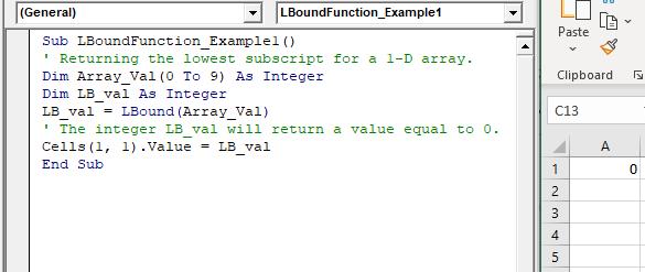 VBA LBound Function
