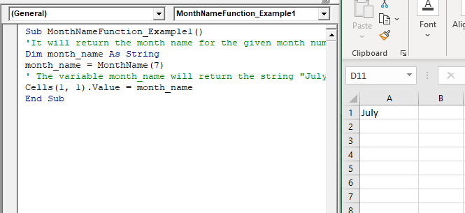 VBA MonthName Function