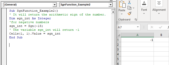 VBA Sgn Function