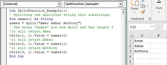 VBA Split Function
