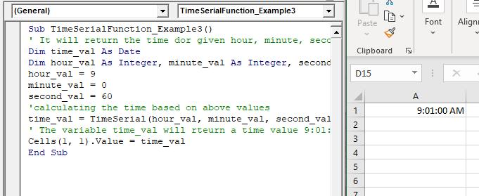 VBA TimeSerial Function