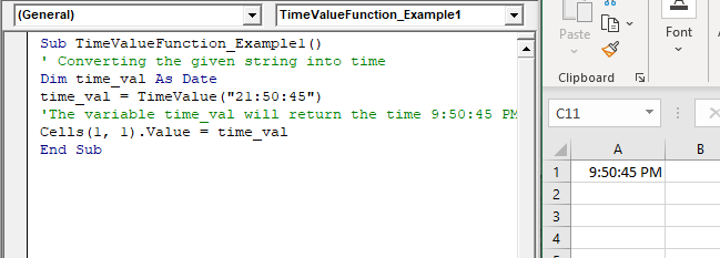 VBA TimeValue Function
