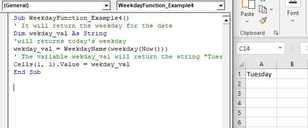 VBA Weekday Function