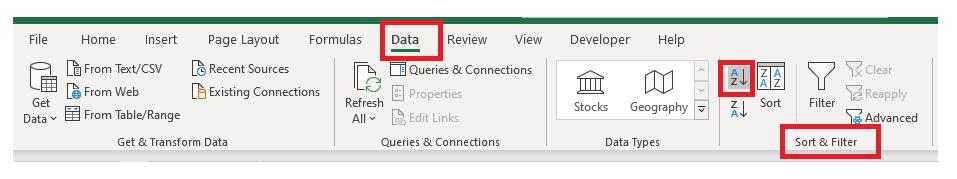 Alphabetize in Excel