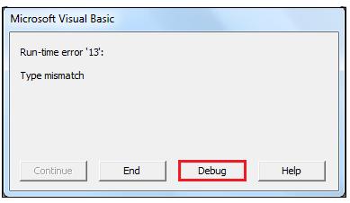VBA Type Mismatch Error