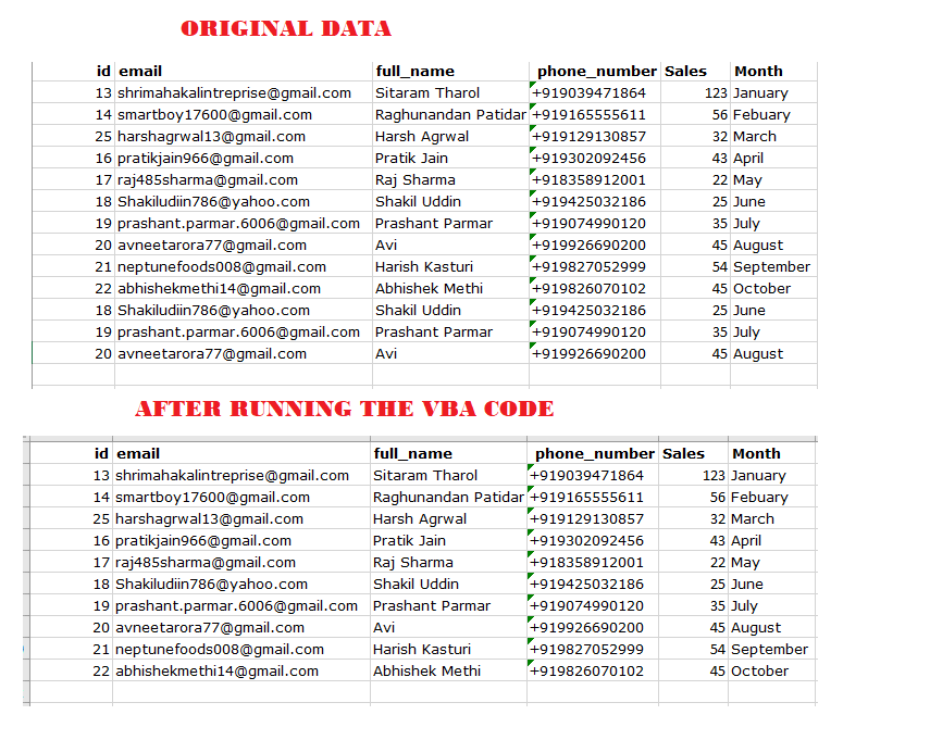 remove duplicate values from excel