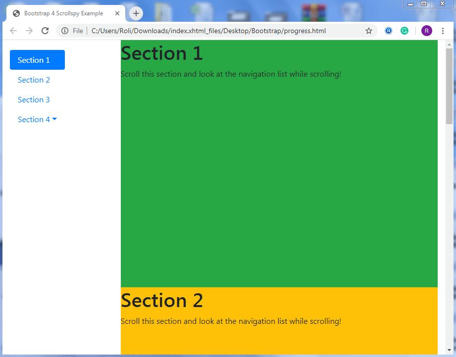 Bootstrap 4 Scrollspy