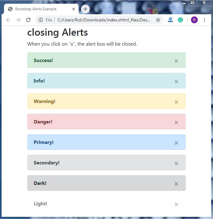 Bootstrap 4 Alerts