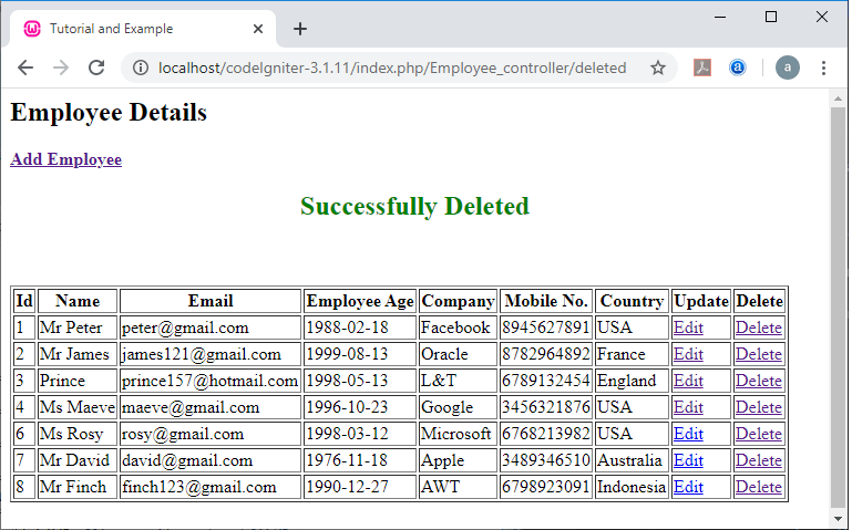 Delete a record from Database