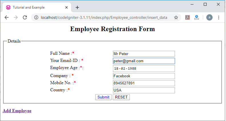 Insert data to the database