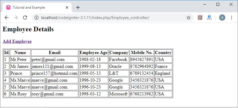 Retrieve data from Database