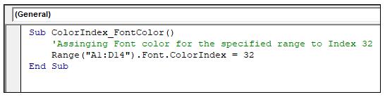 VBA Color Index Property