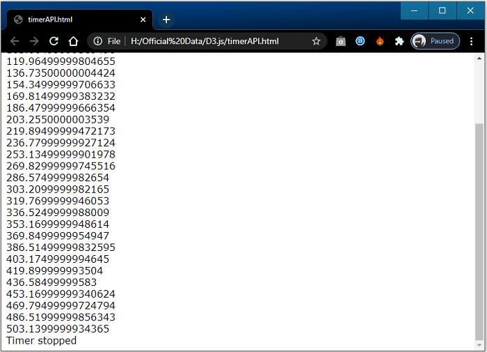 Timer API in D3.js