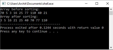 C++ Program to Implement Shell Sort