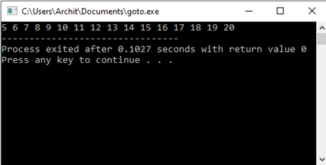 goto statement in C and C++