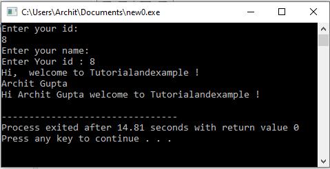 C++ program to read string using cin.getline()
