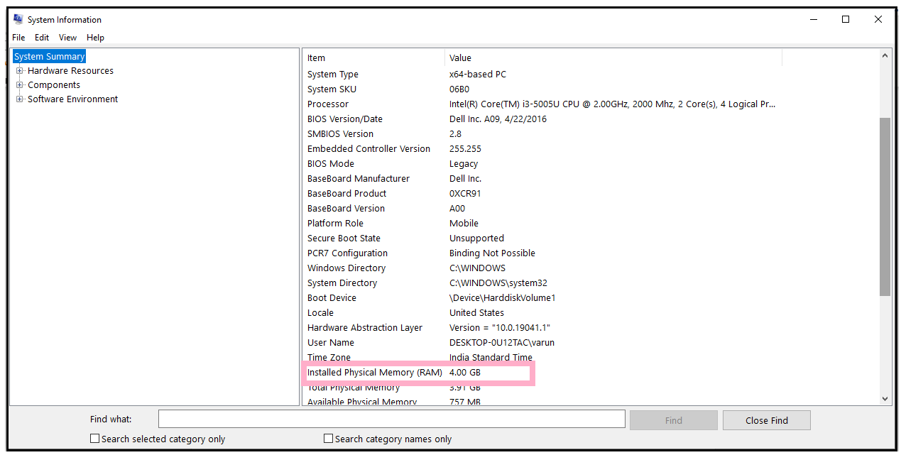 How to find your computer's specs