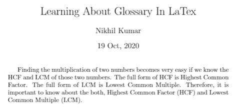 Index and Glossary in LaTex