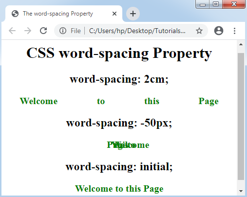 CSS Word-spacing