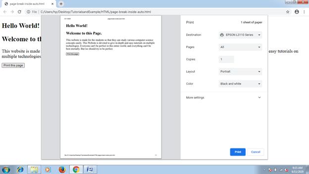 CSS Page-break-inside Attribute