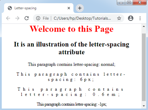 CSS Letter-spacing