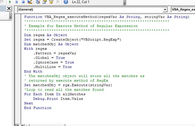 VBA VBScript Regex Methods Regex