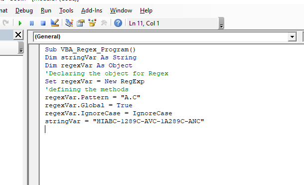 Steps to create Regex in VBA