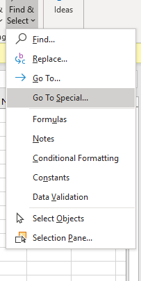 Go-To Special function in Excel