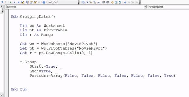 VBA Pivot Table Grouping