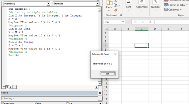 Declaring a Variable in VBA