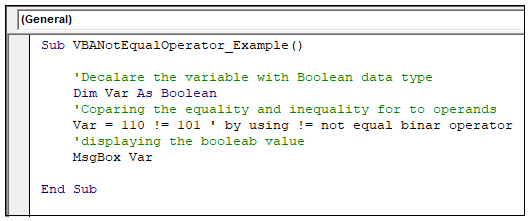 VBA Not Equal Operator