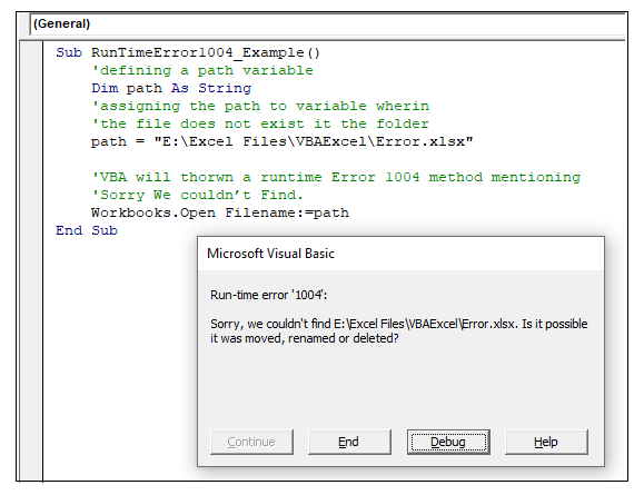 VBA runtime error 1004